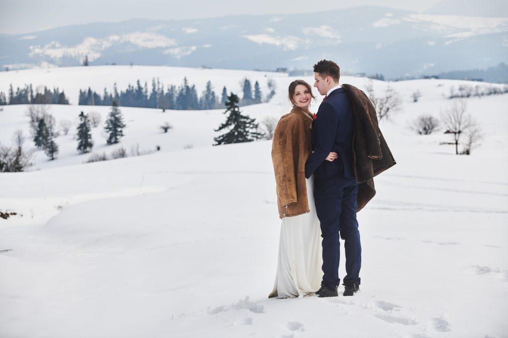 sesja ślubna góry zima tatry zdjęcia ślubne