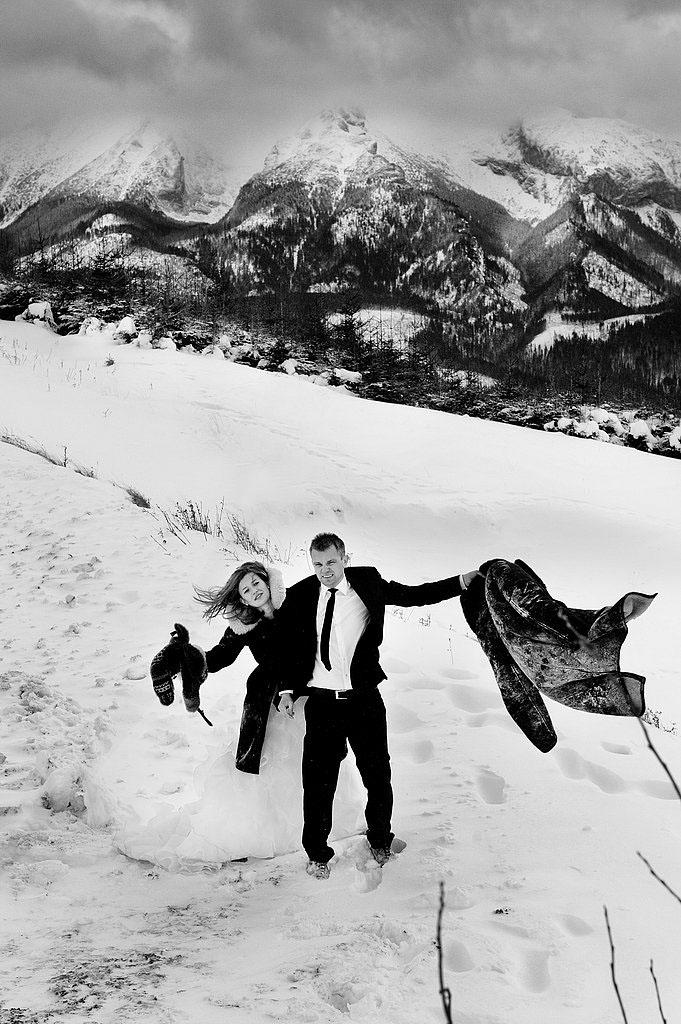 sesja ślubna góry zima, Jurgów tatry zdjęcia ślubne